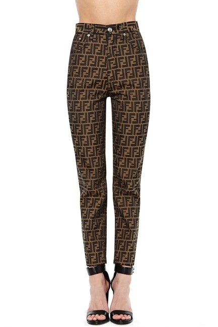 Fendi Monogram 2000's Vintage Skinny Pants Brown