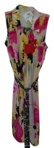 Anthropologie short dress Pink, yellow, white, black Silk Print on Tradesy
