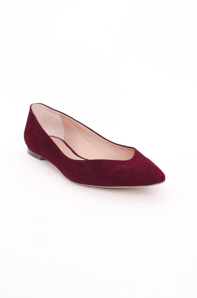 3e9abbfe4 Chloé Red Burgundy Suede Leather Pointed Toe Ballerina Flats Size US ...