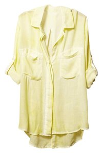 Cloth & Stone Buttondown Relaxed Faded Button Down Shirt yellow