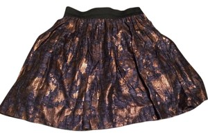 Forever 21 Floral Mini Skirt Purple and Gold