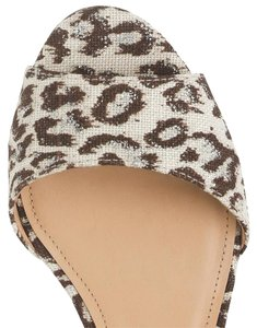 J.Crew Leather Wedges Leopard Print Ivory, brown, silver Sandals