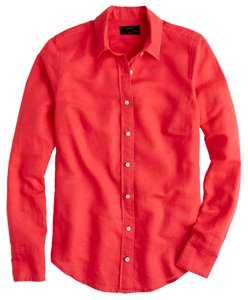 J.Crew Cotton Linen Roll Up Sleeves Button Down Shirt Coral