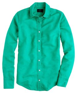 J.Crew Cotton Linen Long Roll Up Sleeves Shirt Button Down Shirt Emerald