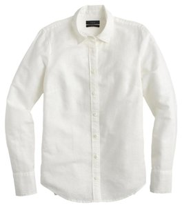J.Crew Cotton Linen Long Roll Up Sleeves Button Down Shirt White