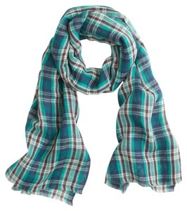 J.Crew J. Crew Teal plaid scarf One Size