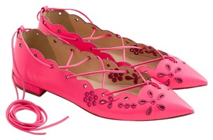 J.Crew Nude Ballet Leather Chain NEON PINK Flats
