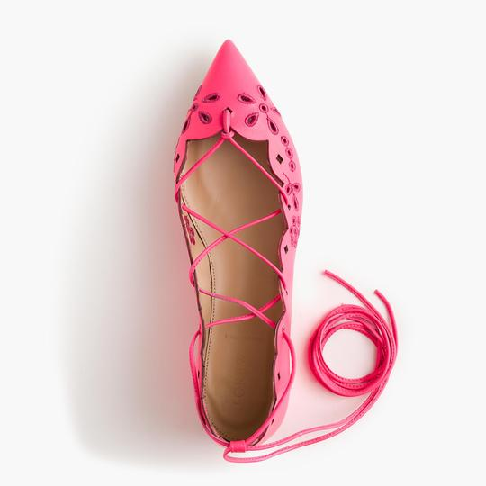 J.Crew Nude Ballet Leather Chain NEON PINK Flats Image 1