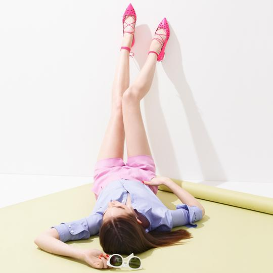 J.Crew Nude Ballet Leather Chain NEON PINK Flats Image 2