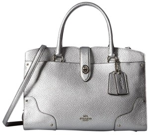 Coach Mercer 30 Leather Satchel in Silver