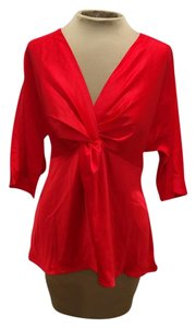 Ann Taylor Bold Twisted 3/4 Length Sleeve Top Red