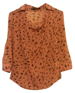 Modcloth Bird Print Sheer Top pink