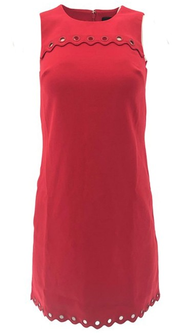 Item - Red Scalloped with Grommets Short Cocktail Dress Size 00 (XXS)