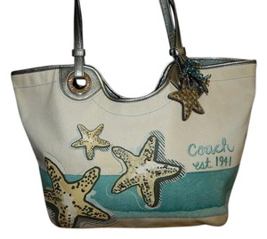 Coach Purse Tote in Ocean Blue and Natural
