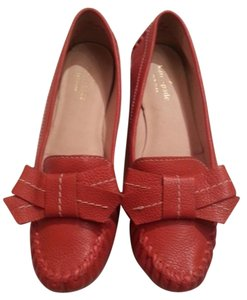 Kate Spade Orange Leather Loafers Orangey Red Flats