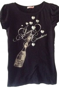 Juicy Couture Ruffled Sleeves With Lettering T Shirt black & silver