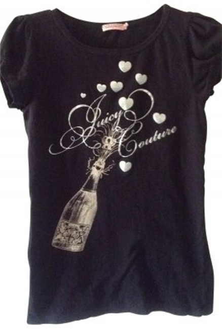 Item - Black & Silver Ruffled Sleeves with Lettering Tee Shirt Size 6 (S)