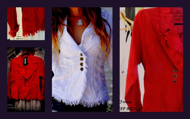 Lirome Boho Cottage Chic Ethnic Country Summer Red Womens Jean Jacket Image 1