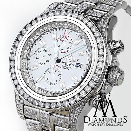 Breitling Diamond Breitling Super Avenger Watch White Index Dial Model A13370 Image 1