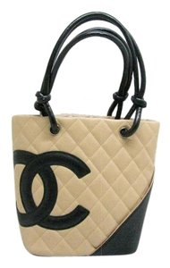 Chanel Quilted Cambon Cambon Ligne Tote in Beige and Black
