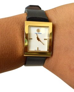 Tory Burch Tory Burch Gold Square Black Leather Watch