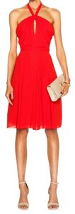 L'AGENCE Halter Crimson A-line Dress