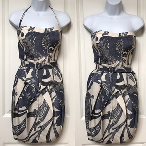 Jessica Simpson short dress Blue, White, Navy Belt Strapless Halter Flowers on Tradesy