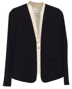 Calvin Klein And White Jacket Single Closure Black Blazer