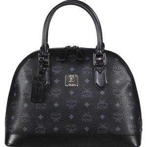 MCM Bowler Monogram Satchel in Black