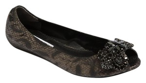 Vera Wang Lavender Label Leather Ballerina Ballet Peep Toe Black/Crystal Flats