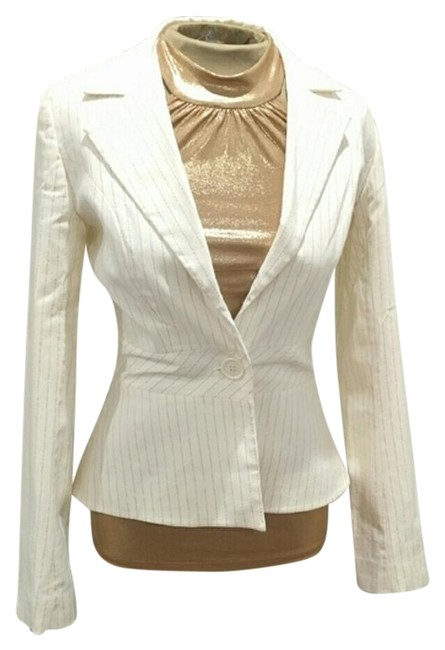 H&M Pinstriped Gold Cream Blazer Image 0