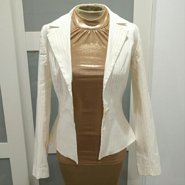 H&M Pinstriped Gold Cream Blazer Image 1