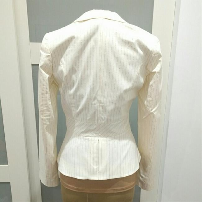 H&M Pinstriped Gold Cream Blazer Image 2