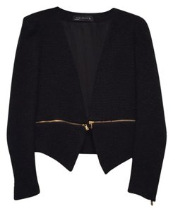 Zara Cropped Zippers Gold Pads Black Blazer