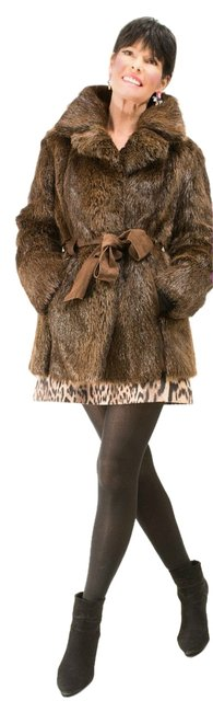 Item - Brown XS Chocolate Beaver Jacket with Leather Belt Coat Size 4 (S)