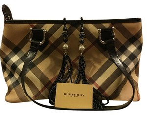 Burberry Leather Nova Check Tote in Tan, red and black