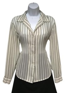 Peter Nygard Stripe Button Down Top Tan and Black