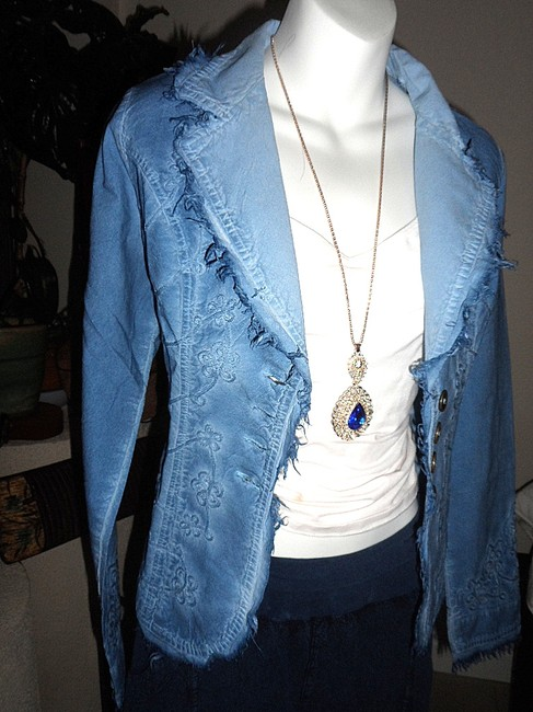 Lirome Bohemian Country Cottage Summer Spring Light Blue Womens Jean Jacket Image 1