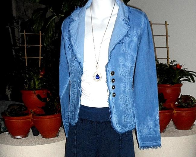 Lirome Bohemian Country Cottage Summer Spring Light Blue Womens Jean Jacket Image 10