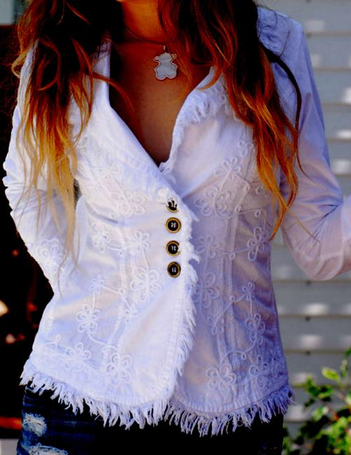Lirome Bohemian Country Cottage Summer Spring Light Blue Womens Jean Jacket Image 2