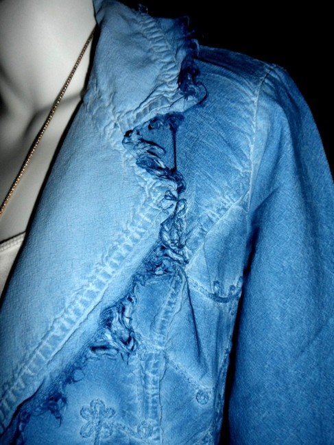 Lirome Bohemian Country Cottage Summer Spring Light Blue Womens Jean Jacket Image 5