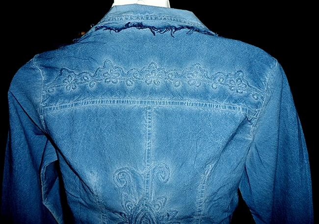 Lirome Bohemian Country Cottage Summer Spring Light Blue Womens Jean Jacket Image 7