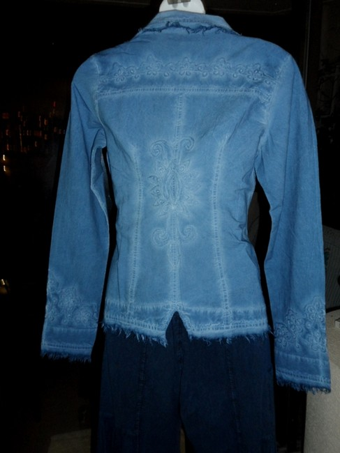 Lirome Bohemian Country Cottage Summer Spring Light Blue Womens Jean Jacket Image 8