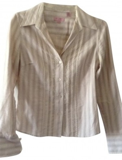 Ted Baker Ribbioned Trimmed Collar With Lace Trim. Button Down Shirt cream & brown