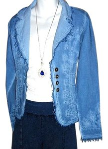 Lirome Bohemian Country Cottage Summer Spring Light Blue Womens Jean Jacket