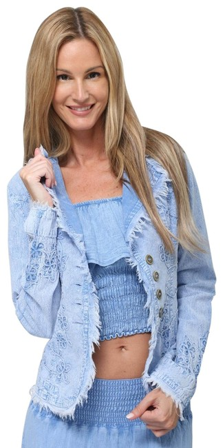 "Item - Light Blue Tie Dye Organic Cotton Embroidered ""Tahiti"" Cottage Chic Jacket Size 4 (S)"