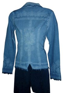 Lirome Bohemian Country Cottage Light Blue Womens Jean Jacket