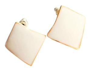 White Sterling Silver Gold Plated Diamond Shape Clip-On Earrings