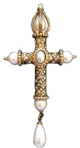 Gold, Pearl and Crystal Cross Brooch