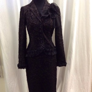 Teri Jon Teri Jon Rickie Freeman Brown/Black Tulle detail Dress Suit Size 2/4